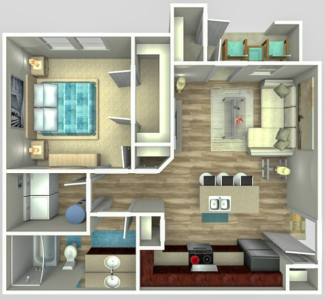 A1 One Bed / One Bath - 660 Sq.Ft.*