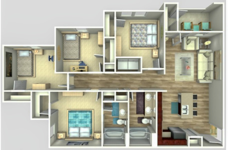 D1 - Four Bedroom / Two Bath - 1,250 Sq.Ft.*